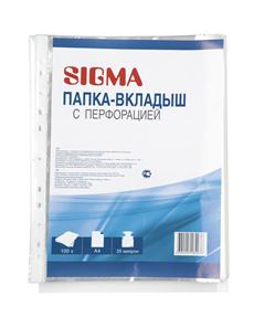 Папка-вкладыш SIGMA с перфорацией, А4 35мкм*100шт