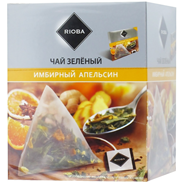 Чай RIOBA зеленый байховый Имбирный апельсин 20 пирамидок