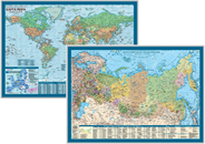 Карта мира и Российской Федерации настольная двусторонняя 58х41 см