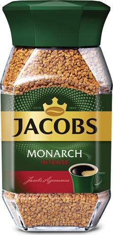 JACOBS Monarch Кофе растворимый сублимированный Intense крепкий 95г