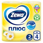 Zewa plus Бумага туалетная двухслойная 4 рулона Ромашка