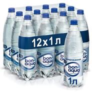 BonAqua Вода минеральная столовая/питьевая газированная 1л, 12 шт.