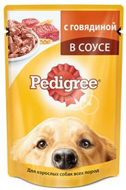 Pedigree Корм влажный для взрослых собак всех пород с говядиной в соусе 100г х 24шт