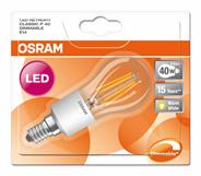 Osram Лампа светодиодная Led DIM4,55W Е14 грушевидная теплый свет
