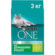 Purina ONE Корм cухой для домашних кошек с индейкой и цельными злаками 3 кг
