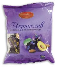 Волшебница Конфеты Чернослив с миндалем в темном шоколаде 180 г
