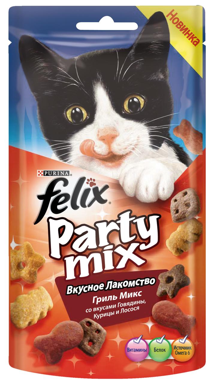 Лакомство для кошек FELIX Party Mix Гриль микс, 60г