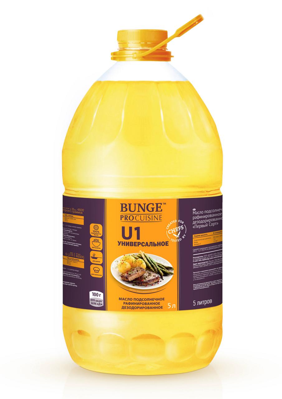 Масло подсолнечное рафинированное BUNGE PRO, 5л