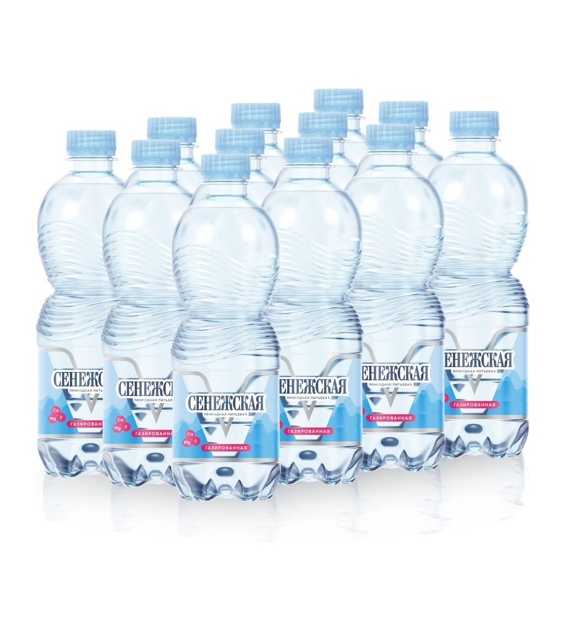 Питьевая вода СЕНЕЖСКАЯ газированная в упаковке, 12*0,5л