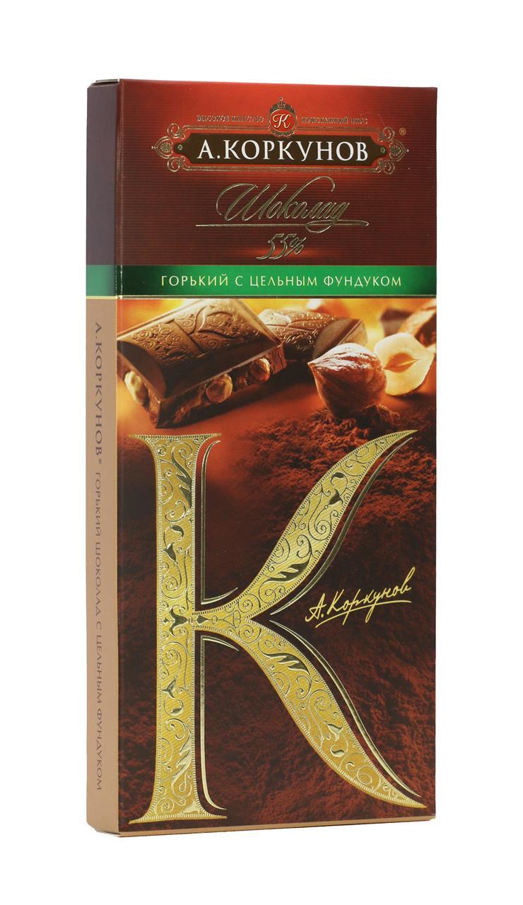 Горький шоколад с цельным фундуком А.КОРКУНОВ 90 г