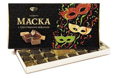 Конфеты шоколадные МАСКА с хрустящими вафлями, 300г