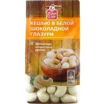 Драже FINE LIFE Кешью в белом шоколаде, 250 г