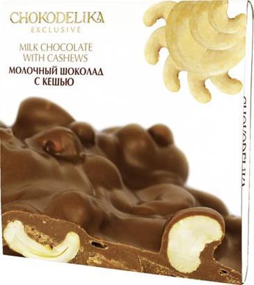 Шоколад CHOKODELIKA молочный неровный с кешью, 160г