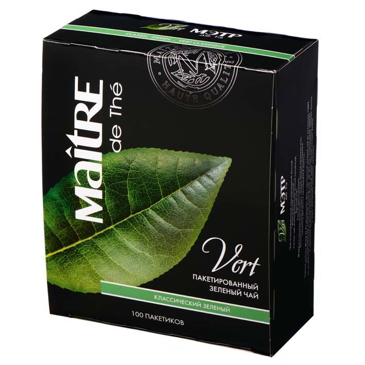 Чай MAITRE DE THE классический зеленый, 100х2 г