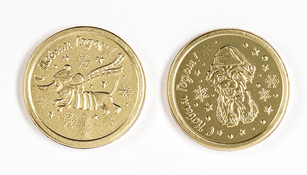 Кондитерское изделие СМУРФИКИ из молочной шоколадной глазури Медаль Новый год, 12гр