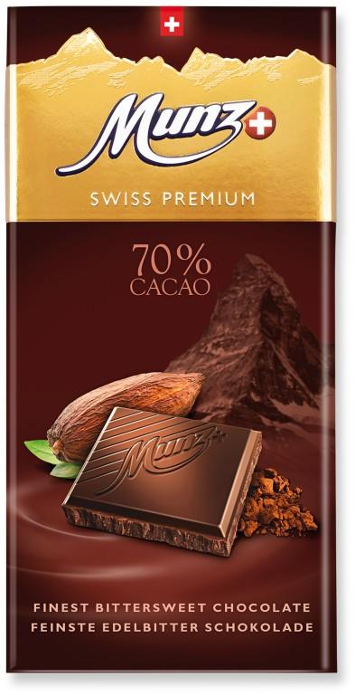 Шоколад MUNZ Swiss Premium горький 70% какао, 100г