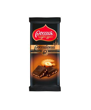 Шоколад Российский темный с фундуком и печеньем 90 г