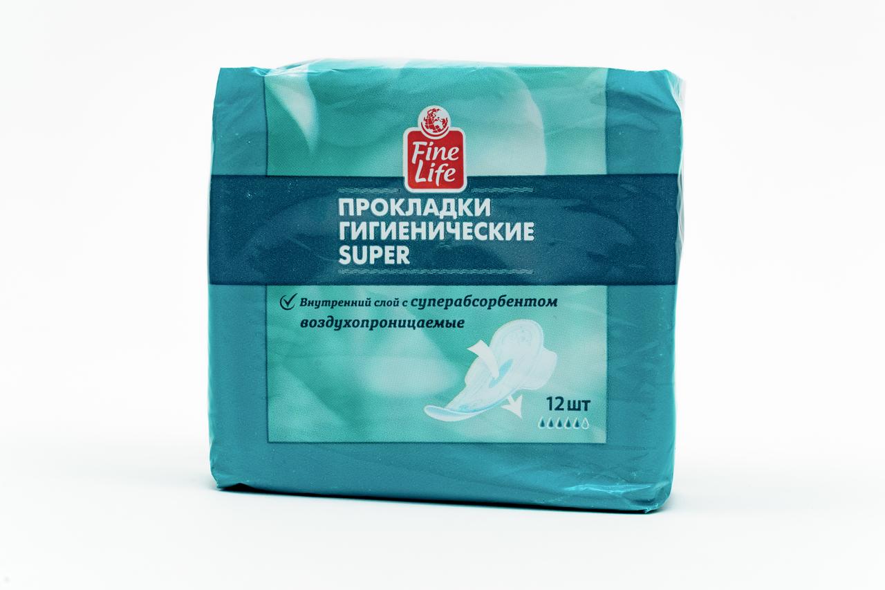 Прокладки гигиенические FINE LIFE Ultra Dry Super, 12 шт
