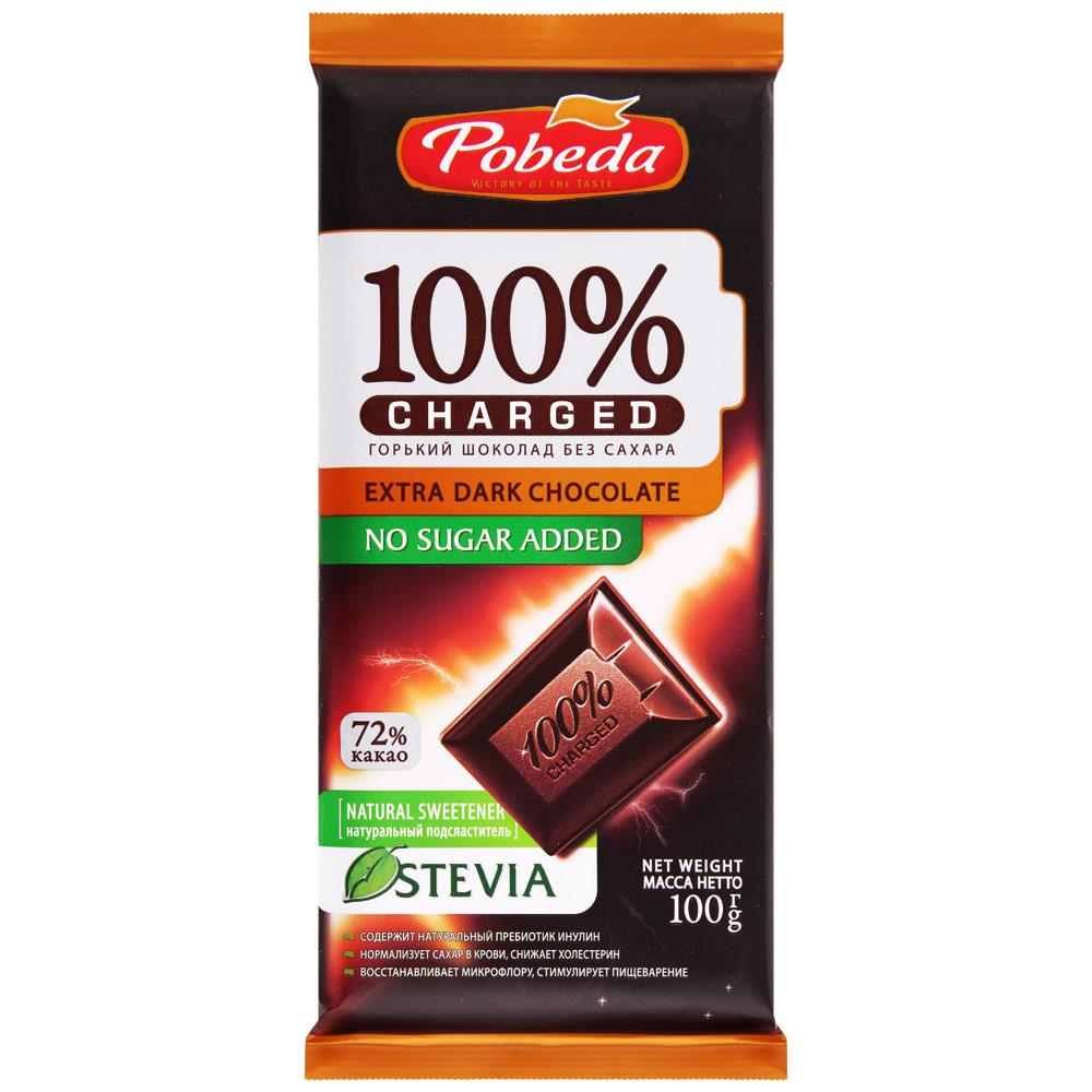 Шоколадка ПОБЕДА Charged 72% без сахара, 100 г