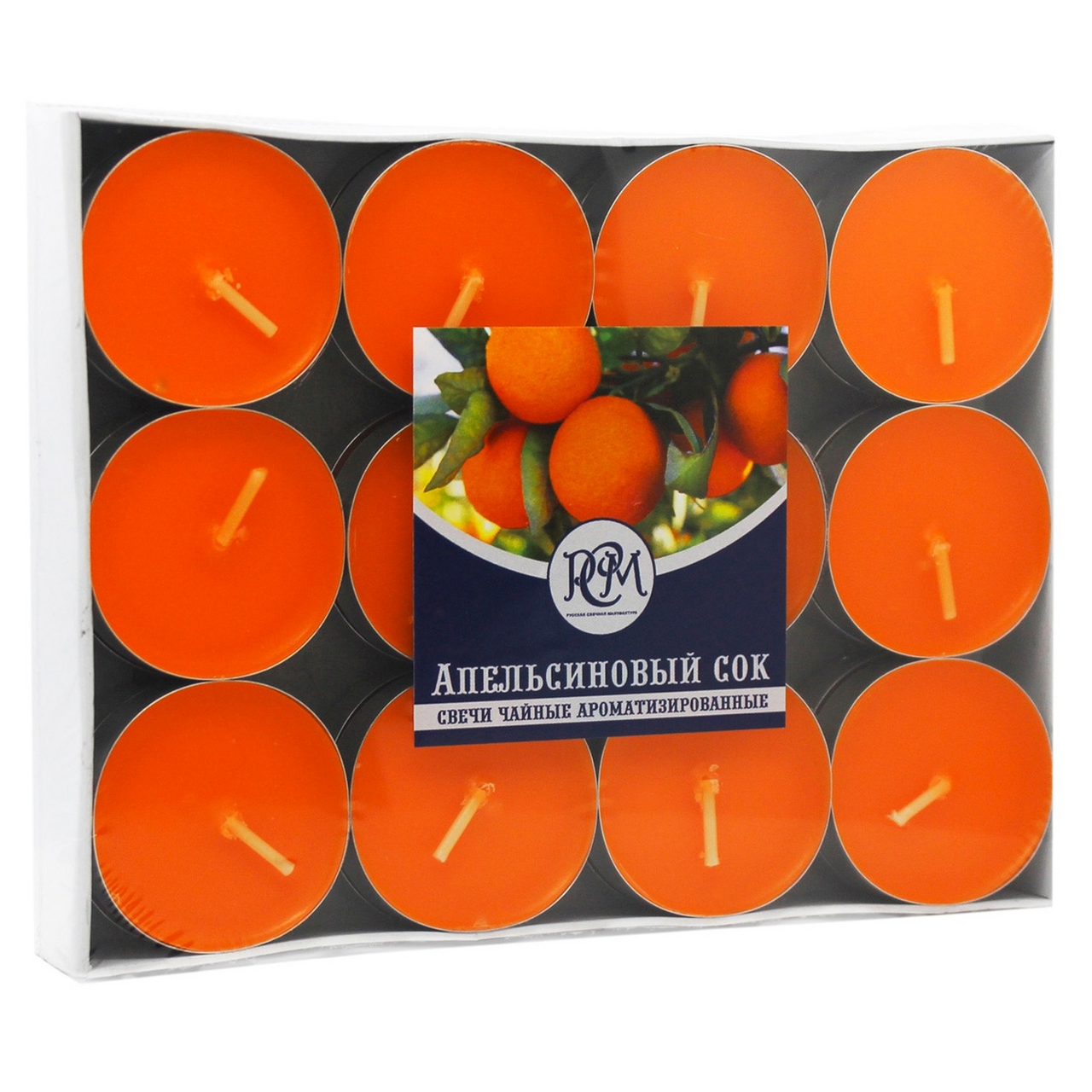 Свечи чайные РСМ Апельсиновый сок, 24 шт.