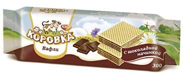 Вафли ОБЪЕДИНЕННЫЕ КОНДИТЕРЫ Рот Фронт Коровка с шоколадной начинкой, 300г