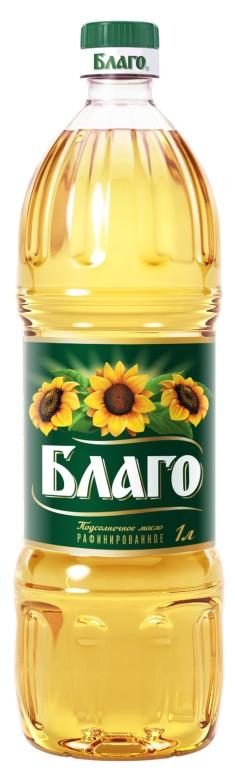 Масло подсолнечное БЛАГО рафинированное, 1л