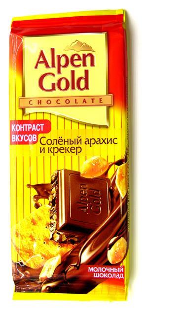 Шоколад ALPEN GOLD Соленый арахис и крекер, 90 г
