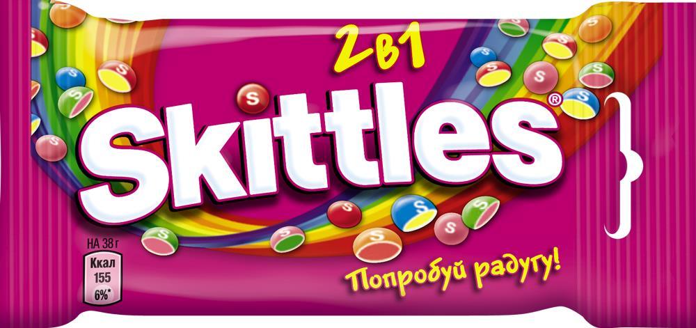 Драже SKITTLES 2 в 1, 38 г