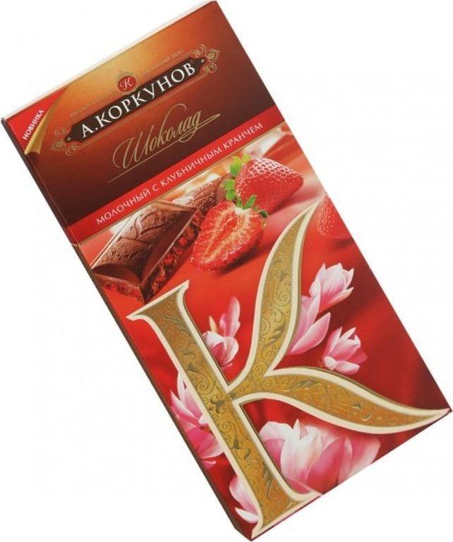 Молочный шоколад с клубникой A.KORKUNOV 90 г