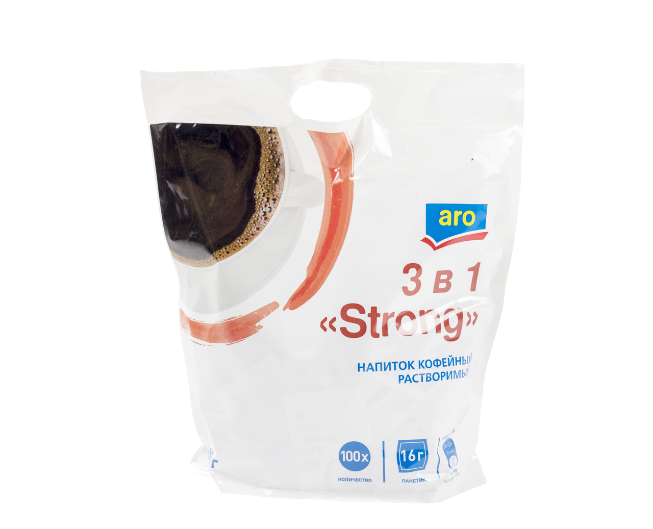 Напиток кофейный растворимый ARO 3в1 Strong, 100x16г