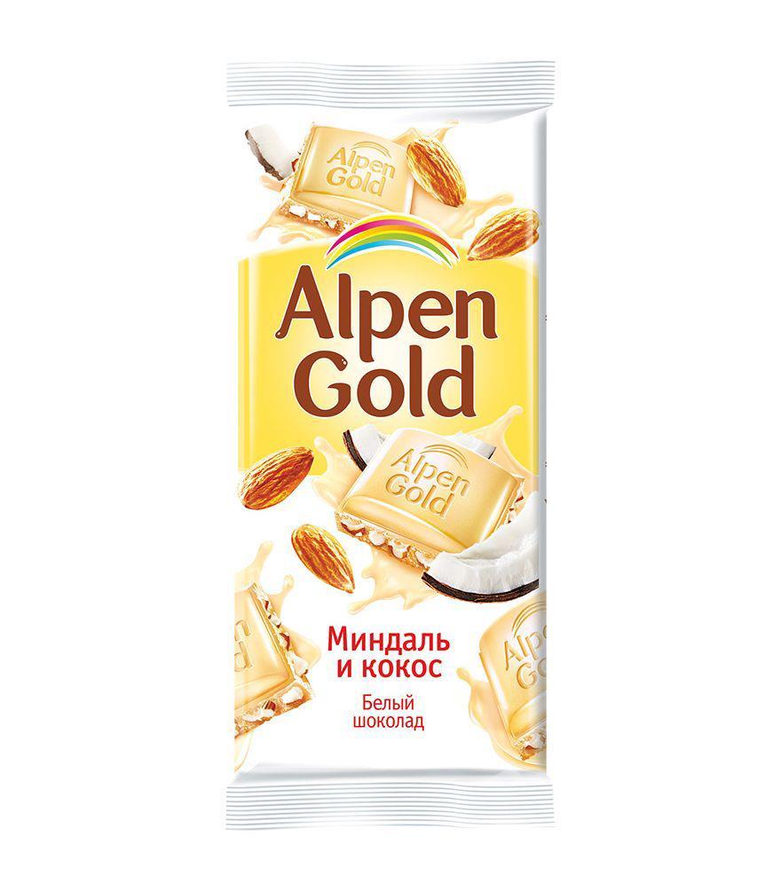 Белый шоколад ALPEN GOLD миндаль и кокос, 90 г