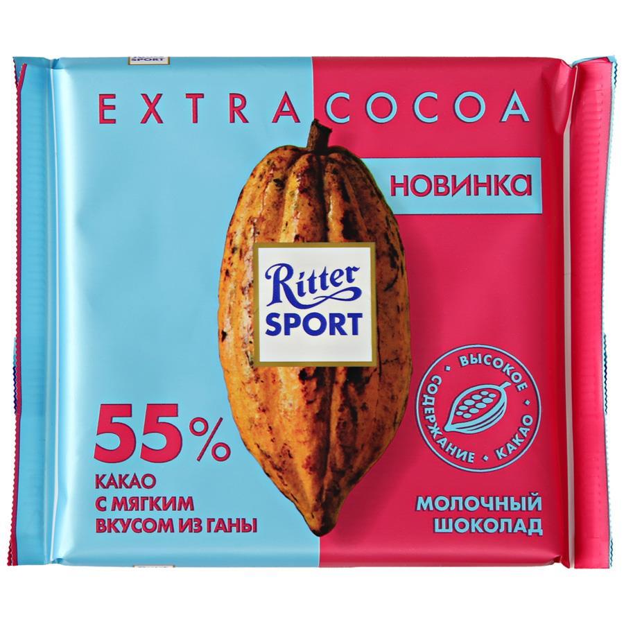 Шоколад Cocoa молочный RITTER SPORT, 55%, 100 г