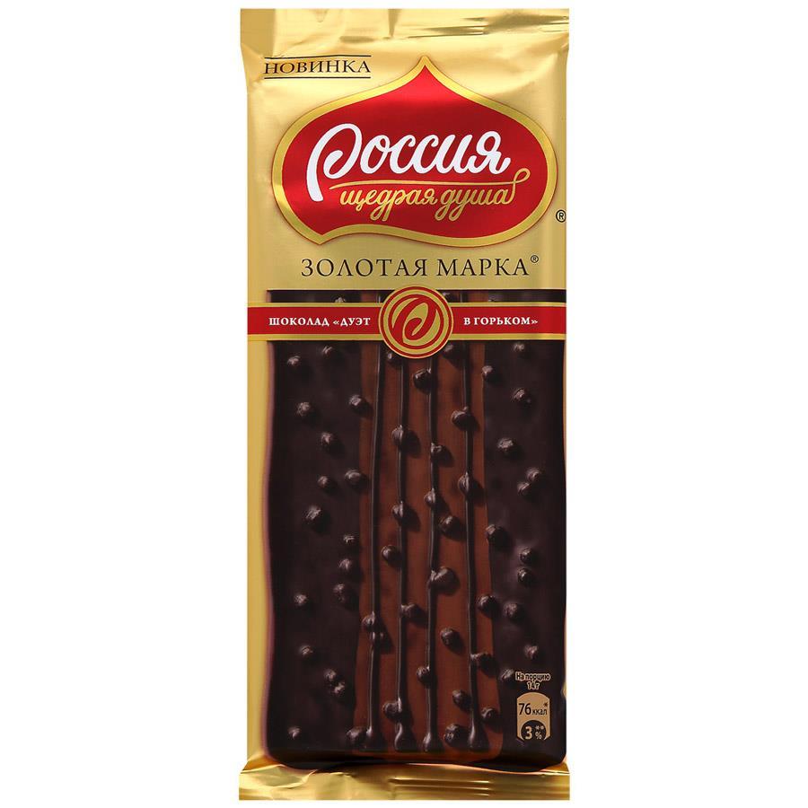 Шоколад ЗОЛОТАЯ МАРКА дуэт горький 85 г