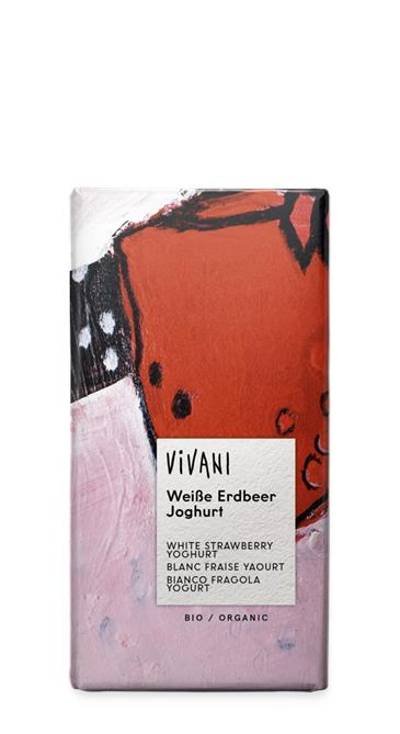 Шоколад белый с клубникой и йогуртом VIVANI, 80 г