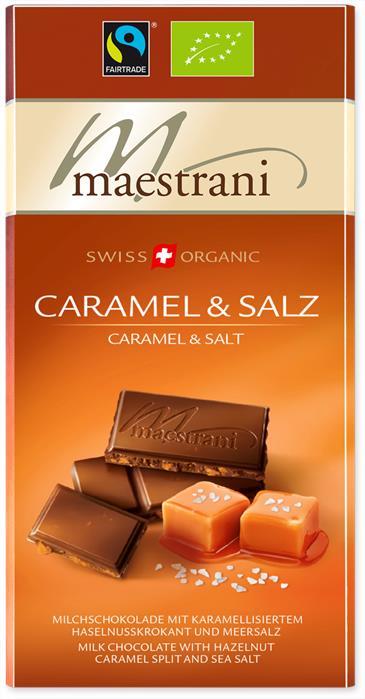 Шоколад молочный с карамелью, фундуком и солью MAESTRANI, 80 г
