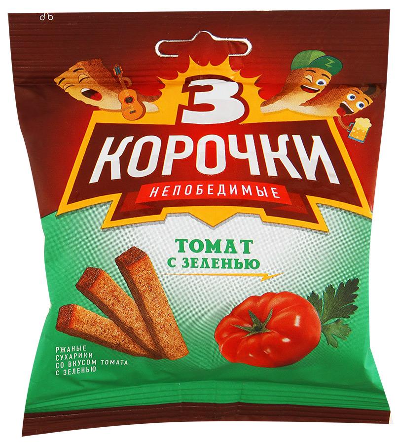 Сухарики ТРИ КОРОЧКИ Томат и Зелень, 40 г