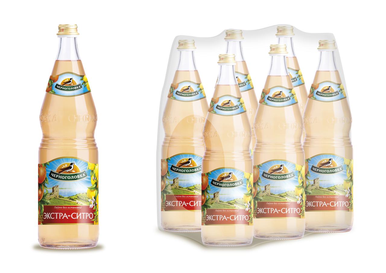 Газированный напиток НАПИТКИ ИЗ ЧЕРНОГОЛОВКИ Экстра-ситро в упаковке, 6х1л