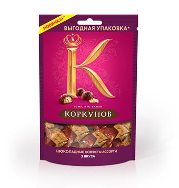 Конфеты A.KORKUNOV темный шоколадк в пакете, 118 г