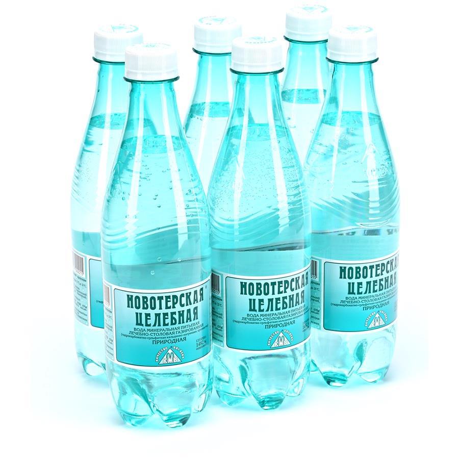 Вода НОВОТЕРСКАЯ минеральная газированная, 0,5л