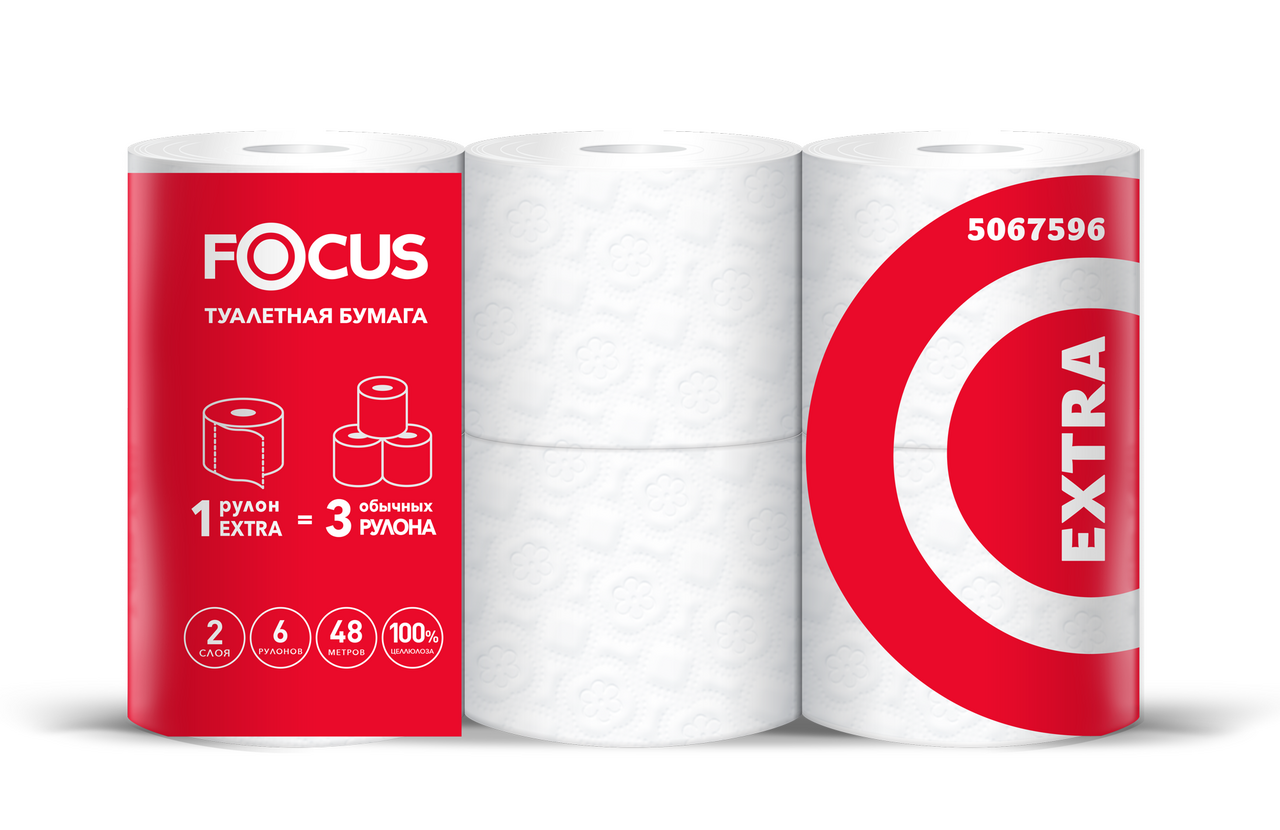 Туалетная бумага FOCUS Extra 2-слойная, 5 шт