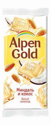 Шоколад ALPEN GOLD Миндаль и кокос, 85 г