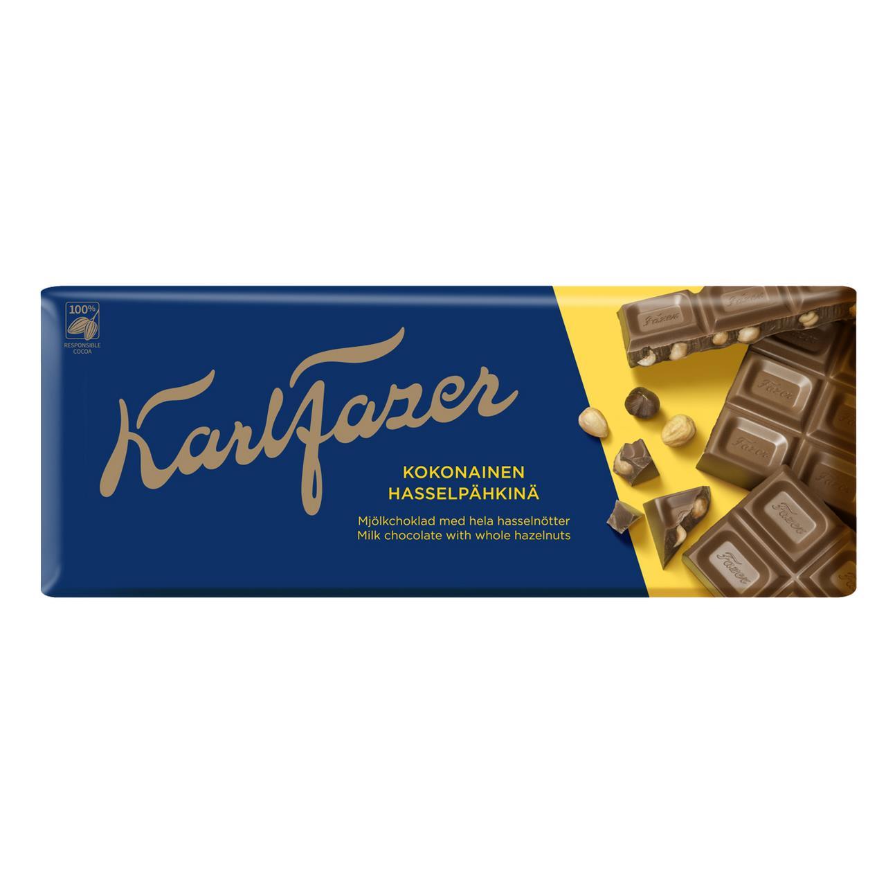 Шоколад KARL FAZER Молочный с цельным фундуком 200 г